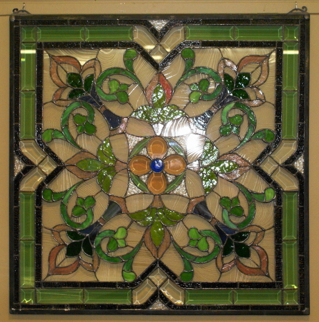 Square Green Blue Pink With Clear Beveled Glass And Olive Green Beveled Glass Stained Glass