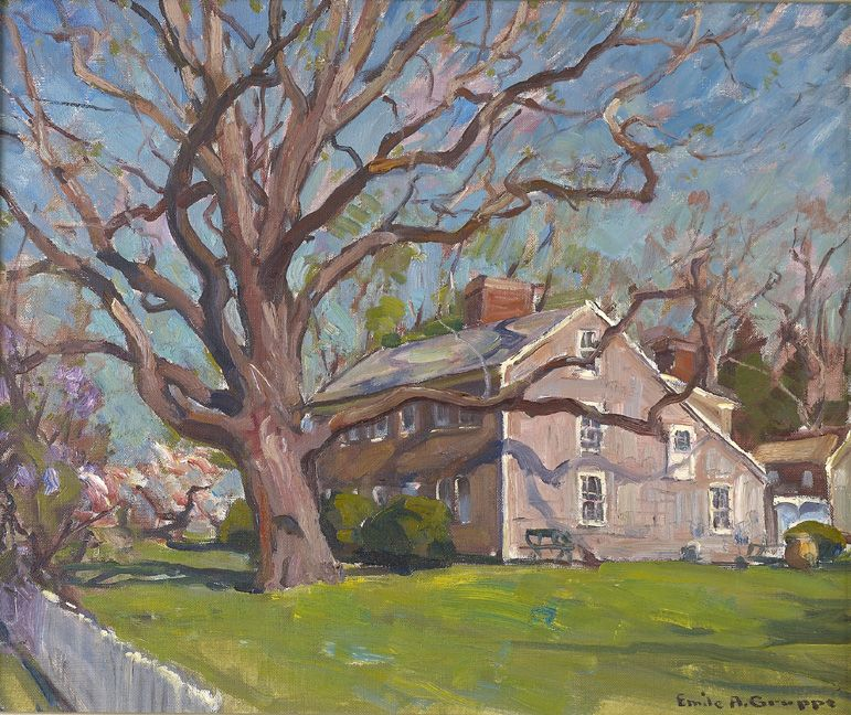Superb 20th c american oil painting house in early spring for Oil paintings of houses