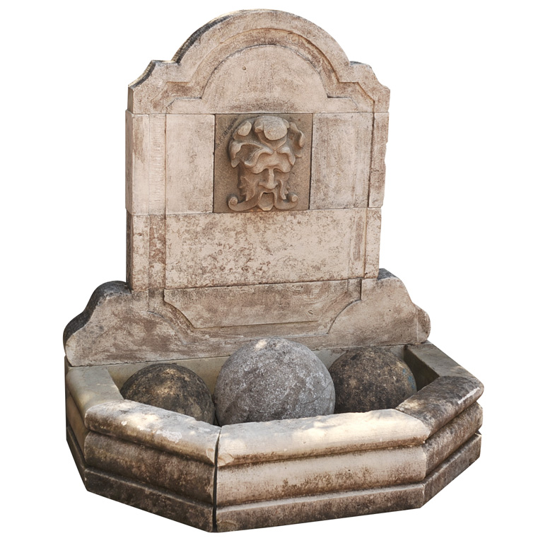 Hand Carved Limestone Fountain For Sale