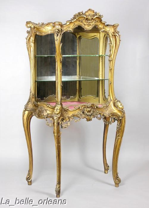 MAGNIFICENT 19TH LOUIS XV CARVED GILTWOOD VITRINE For Sale ...