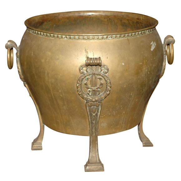 FRANCE 1930S A LARGE SCALE ART DECO BRONZE JARDINIERE WITH AN EGG AND ...