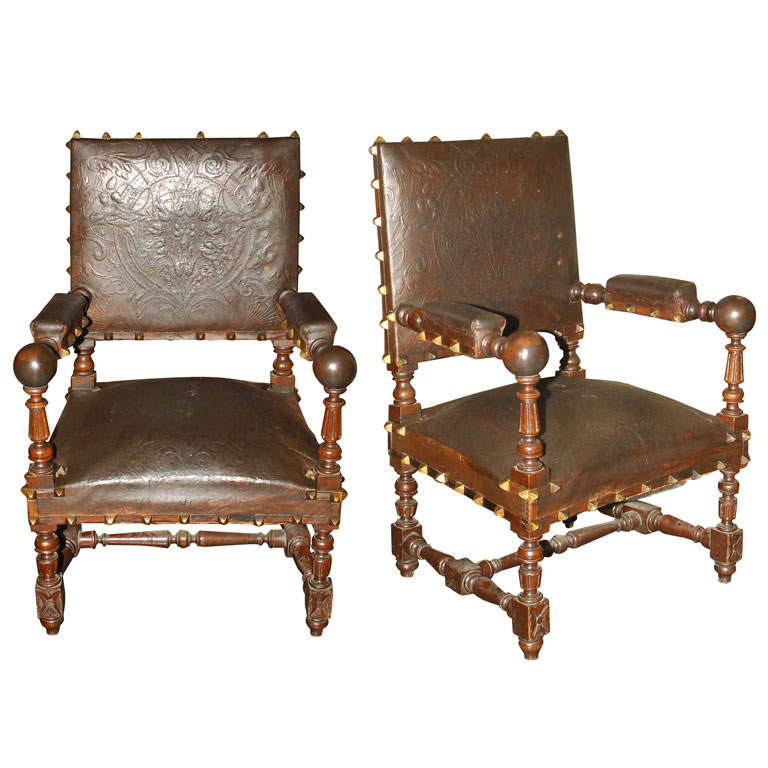 19th century spanish leather chairs for sale antiques