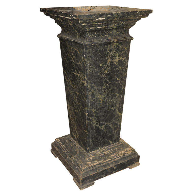 Pedestal : ... MARBRE PAINTED WOODEN PEDESTAL IN SHADES OF BLACK , GREEN AND GREY