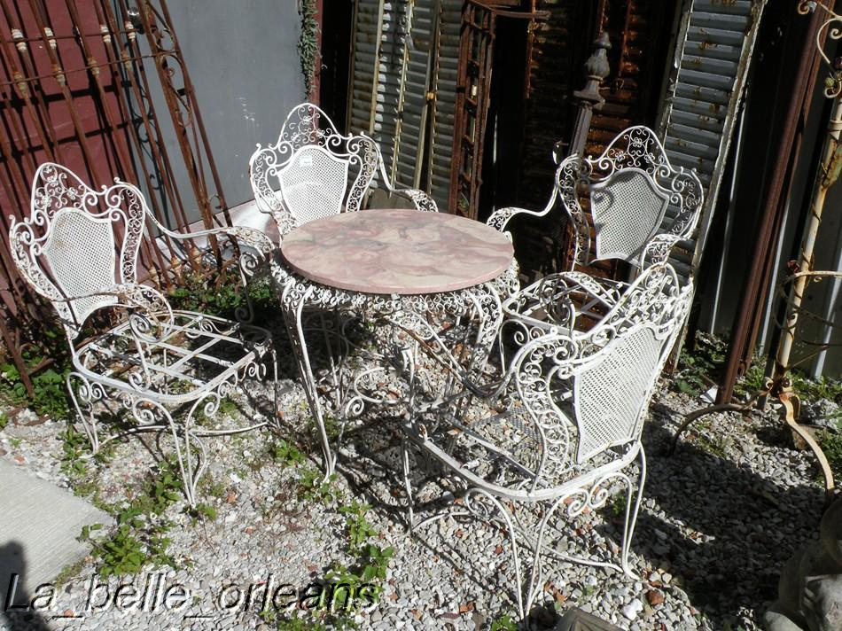 Antique wrought iron patio furniture for sale antique for Outdoor tables and chairs for sale