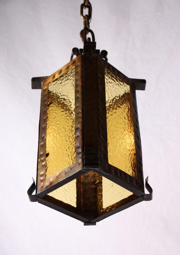 fabulous antique brass pendant light with original glass