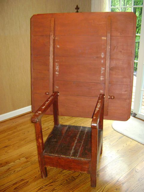 Tilt-Top Chair Table - Old Red Paint - circa 1840's - For Sale - Tilt-Top Chair Table - Old Red Paint - Circa 1840's For Sale
