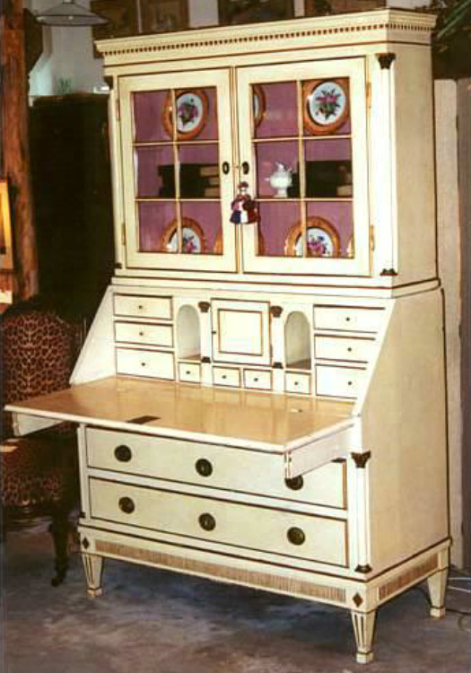 A Late 19th C Swedish Cream Painted And Gilt Pine Slant Front Secretary Desk In 2 Parts An Upper Bookcase Cabinet With Glazed Doors Ed Shelves