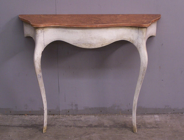 White painted swedish style half console c1950 item for Coffee tables 36 wide