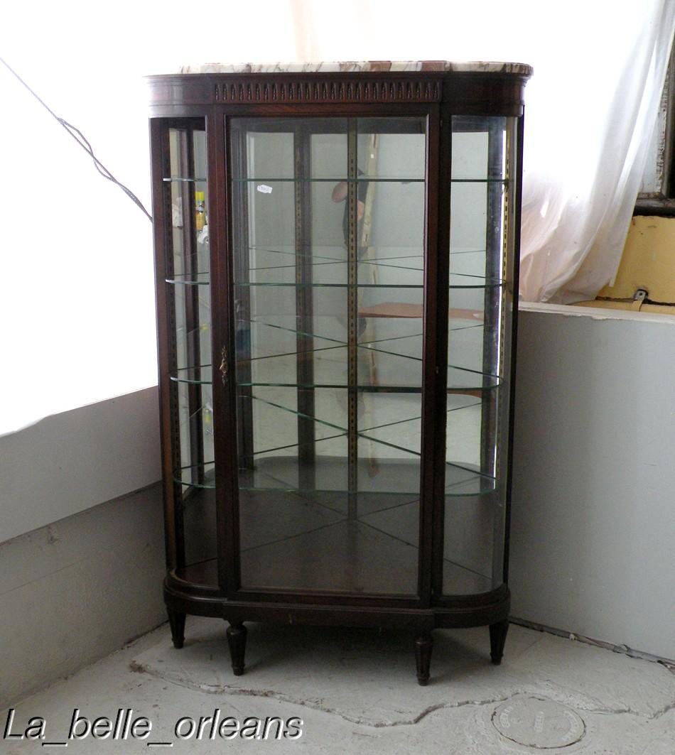 SUPERB FRENCH EMPIRE CORNER SHOWCASE CURVED GLASS For Sale