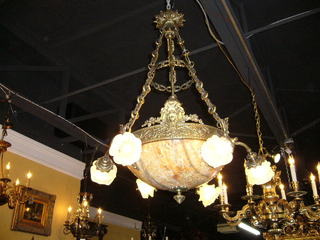 Exceptional 19th Century French bronze and alabaster chandelier. Circa,  1890. Antique Lamps and Lighting - French Alabaster Chandelier For Sale Antiques.com Classifieds
