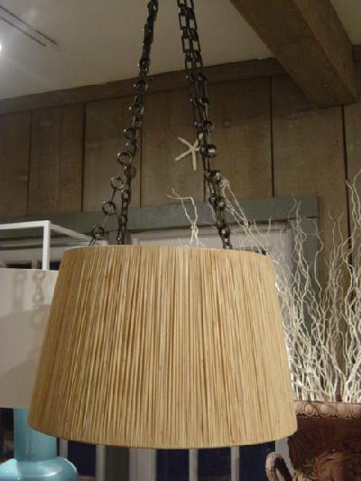 Hanging Raffia Light Fixture CRTlight For Sale
