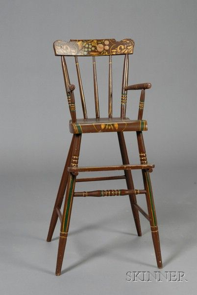 Fine 19th C American Pennsylvania Child's Painted & Stencil Decorated High  Chair With Brown Ground With Gold And Green Highlights. Height: 35 1/2