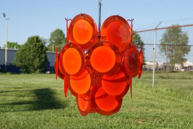 Vistosi murano orange glass disk chandelier for sale antiques vistosi murano orange glass disk chandelier for sale aloadofball Images