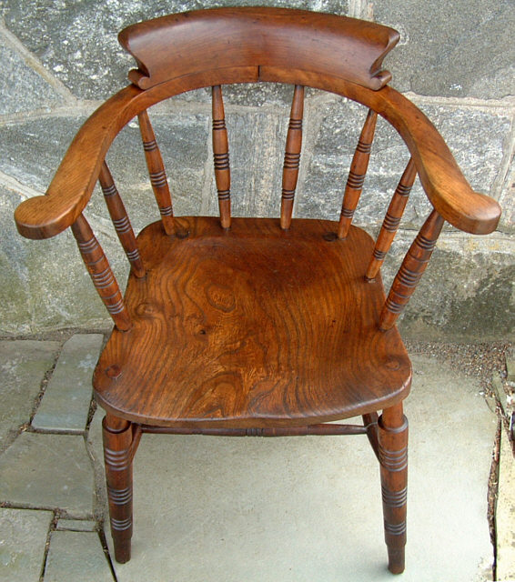 Antique low bow back Windsor smokers armchair, Windsor arm chair. This