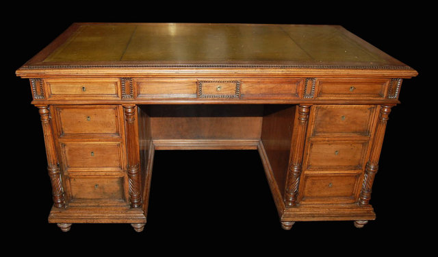 French Walnut Executive Desk - For Sale - French Walnut Executive Desk For Sale Antiques.com Classifieds