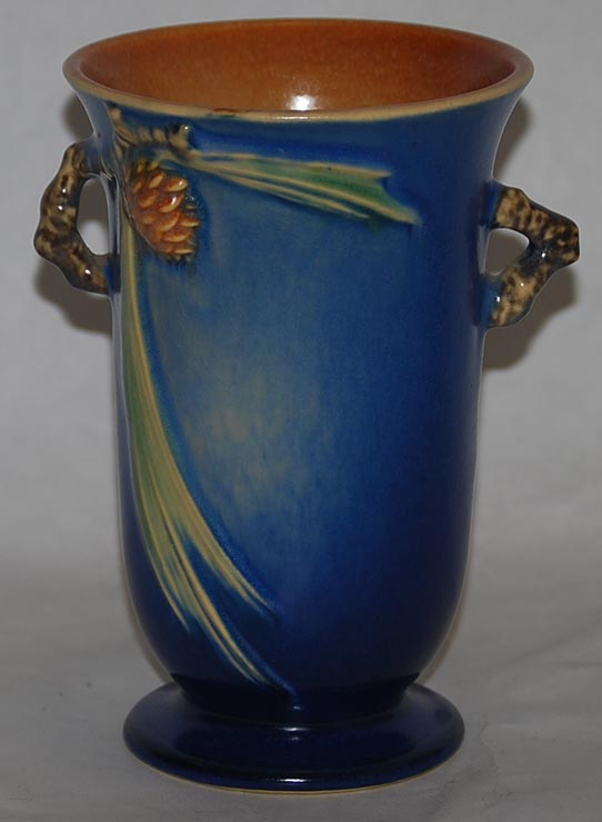 Roseville Pottery Pine Cone Blue Vase For Sale Antiques