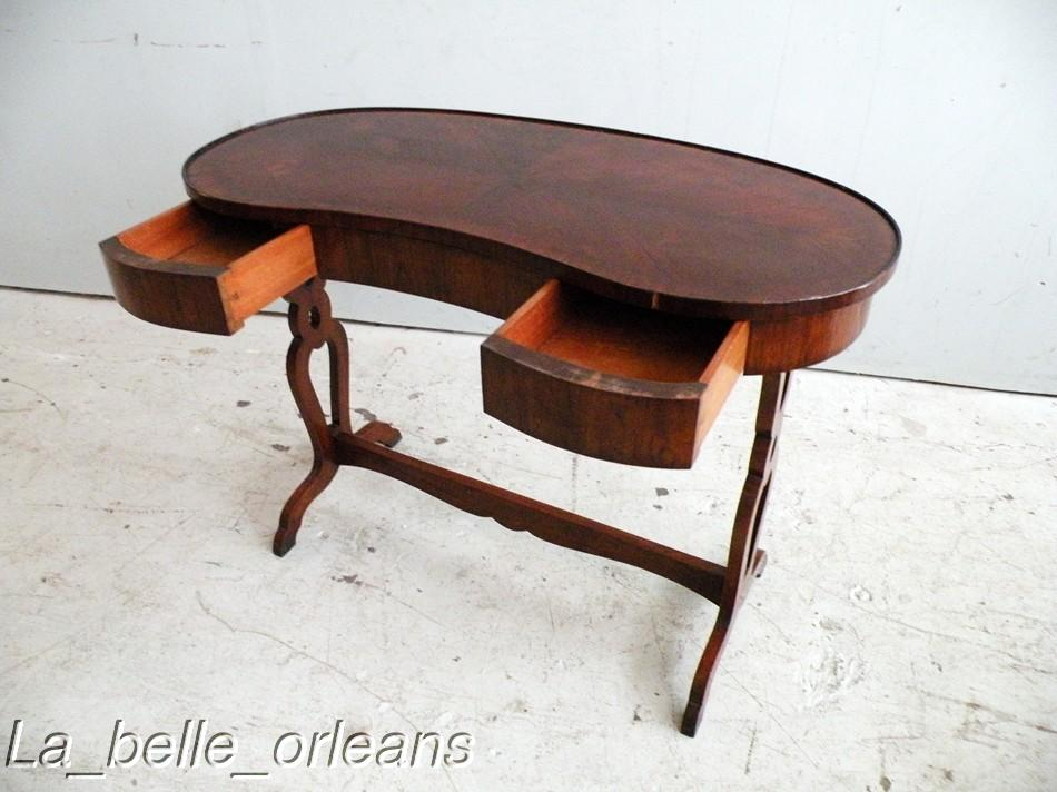 Fine french mahogany kidney shape desk vanity l k for for Kidney desk for sale