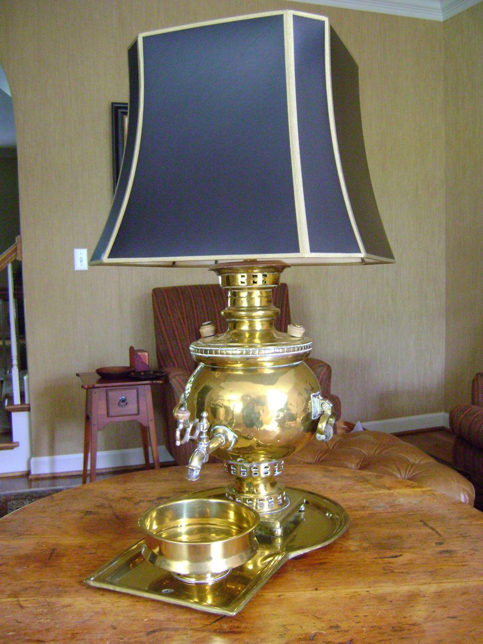 antique samovar brass lamp for sale. Black Bedroom Furniture Sets. Home Design Ideas