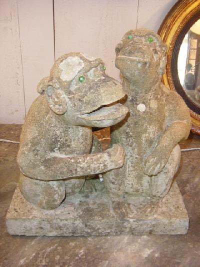 Stone carved monkeys crt for sale antiques