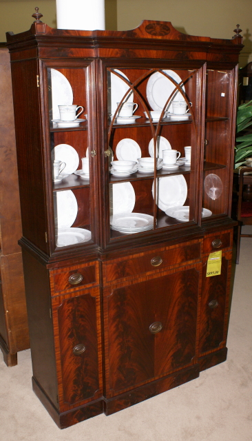 Nice banded inlaid breakfront china cabinet For Sale | Antiques ...
