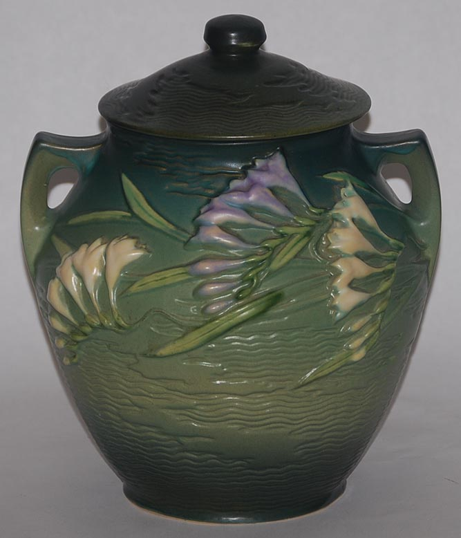 Roseville Pottery Freesia Green Cookie Jar For Sale