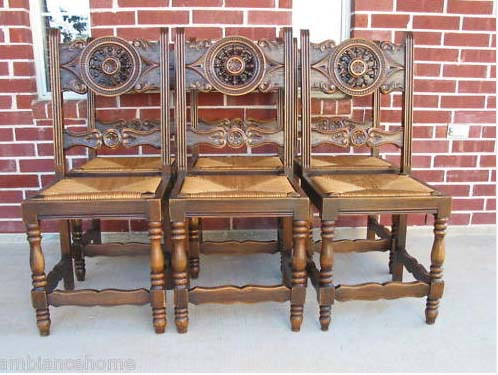 Crafted From French Oak, This Set Of Six Breton/Brittany Hand Carved Chairs  Marries Practicality Yet Elegant Refinement. - Architectural Carved Set Of 6 Dining Chairs Antique For Sale