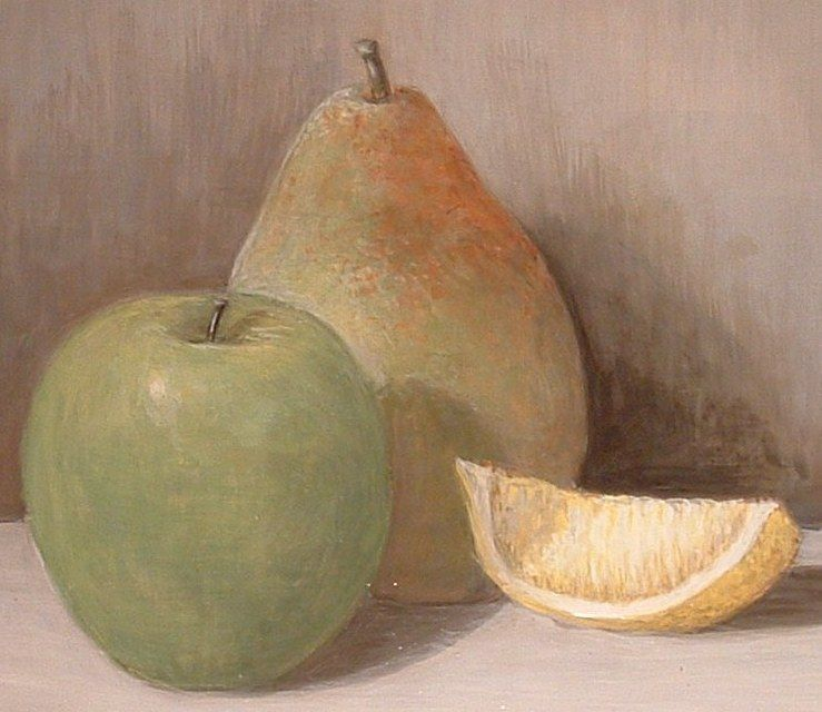 20th C American Contemporary Still Life Of Pear, Apple
