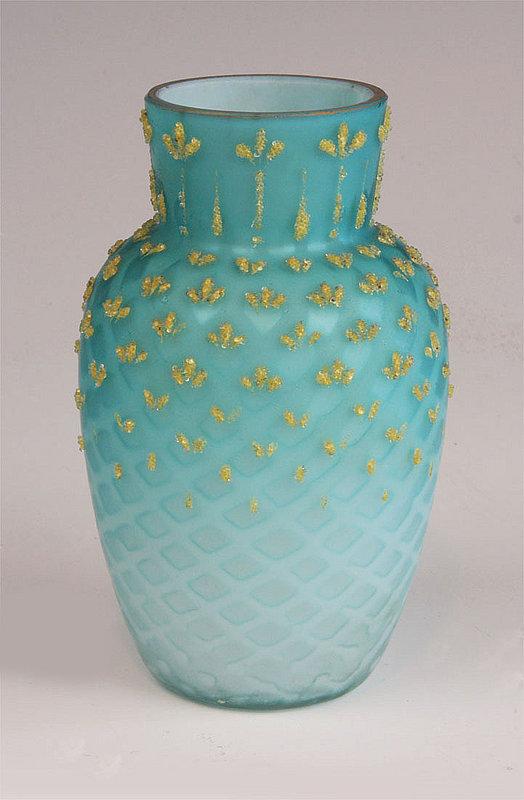 Blue Diamond Quilt Satin Glass Vase For Sale Antiques