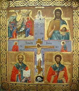 Quadripartite Icon with Central Crucifixion - PF.5974 For ...