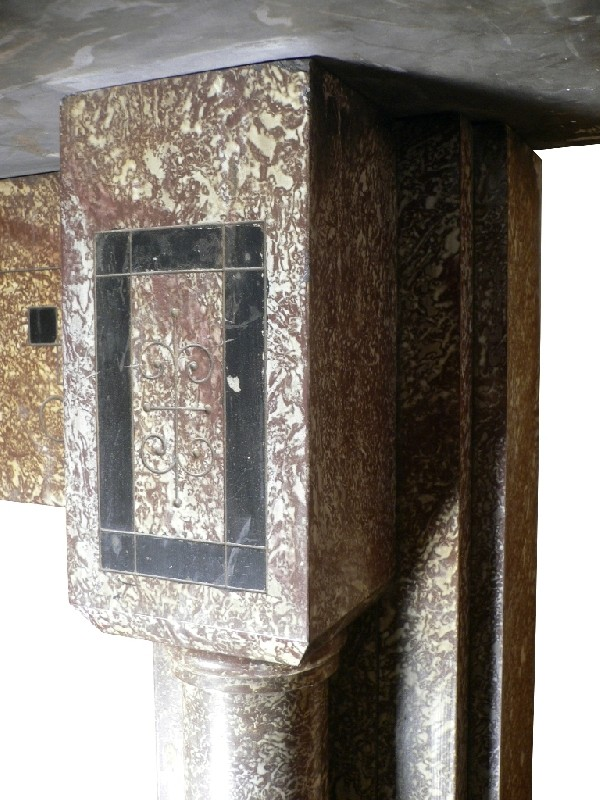 handsome antique slate mantel with original faux finish c 1880 s for sale. Black Bedroom Furniture Sets. Home Design Ideas