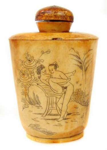 Antique Chinese Erotic Carved Ivory Snuff Bottle - For Sale