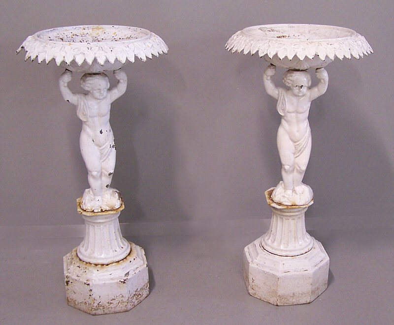Pair Of 19th C Cast Iron Planter Urns With Cherub Bases Item