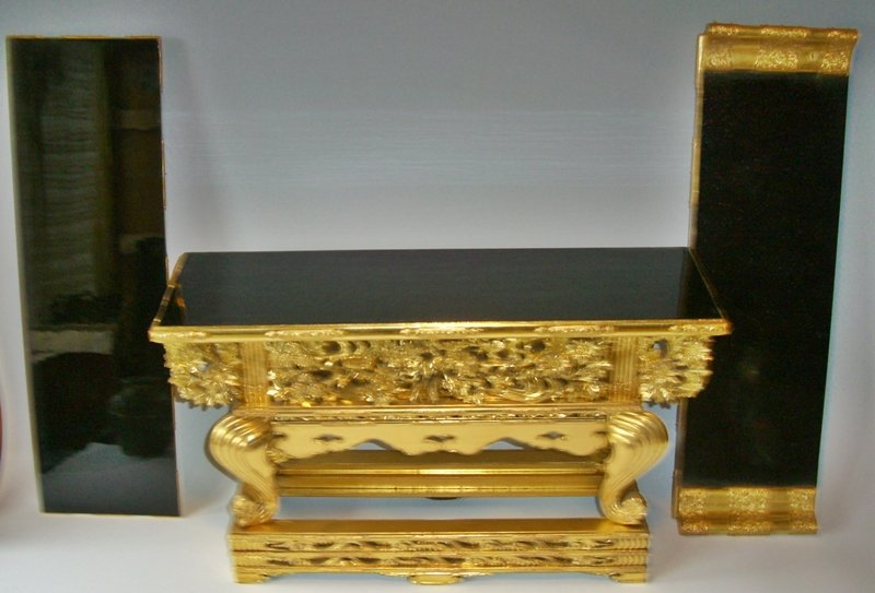 antique japanese buddhist gold lacquered altar table for sale