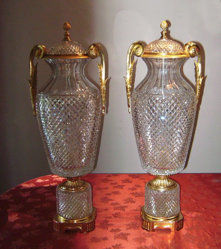 Marbro Baccarat Crystal Covered Vases With Gold Vermeil Item