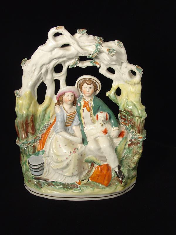 Staffordshire Figures Seated Below Arbour For Sale