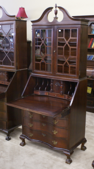 Height 79 Depth 18 Open 31 Width Gany Serpentine Front Secretary Desk With Ball And Claw Feet Back Nice Ed Interior