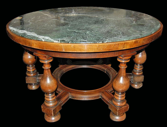 Is An Unusual French Walnut Bulbous Leg Coffee Table Featuring An  Outstanding Maurine Green Marble Top. In Splendid Overall Condition, This  Table Is ...