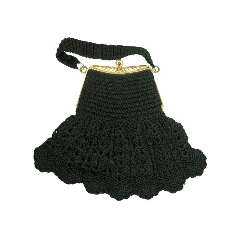 vintage art deco black crochet gold tone flapper purse for. Black Bedroom Furniture Sets. Home Design Ideas