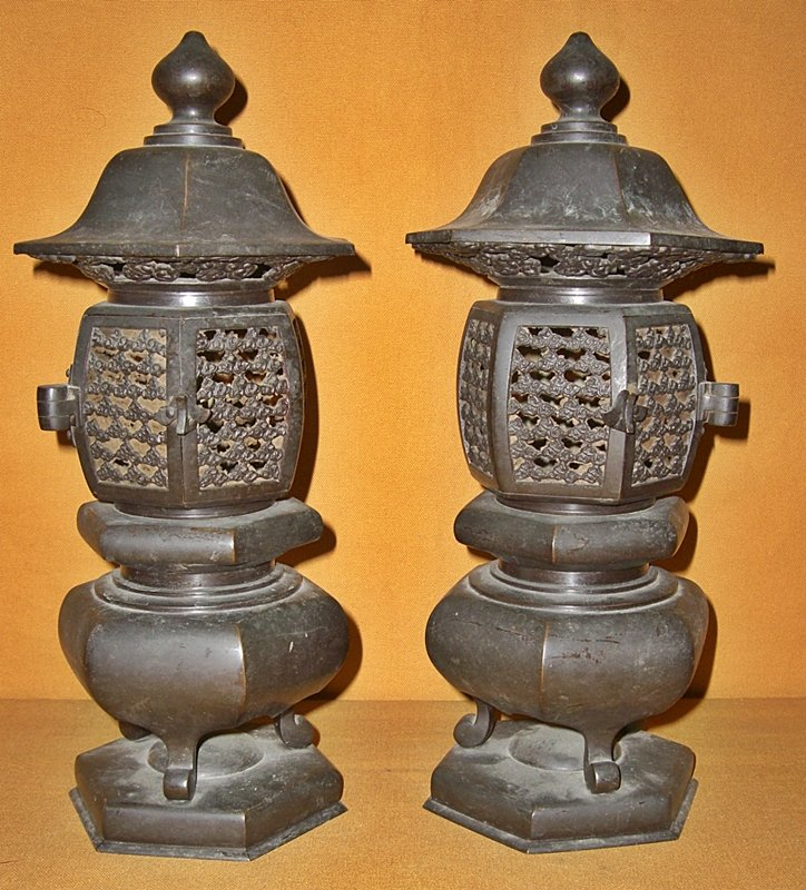 Buy Antique Handcrafted Buddha Lantern For Corporate: Antique Japanese Buddhist Temple Bronze Altar Lanterns For
