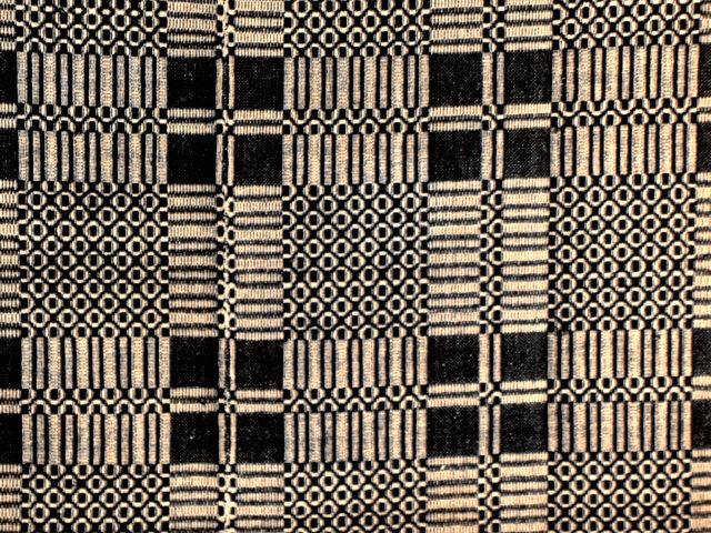 Antique Black Jacquard Loom Woven Coverlet Item 2140