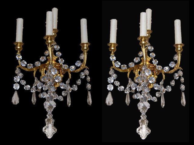 Pair of Antique French Crystal Sconce For Sale | Antiques.com