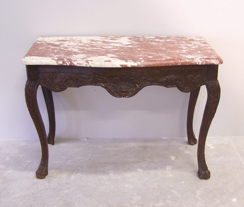 Charmant 18th C French Regence Console Table With Marble Top : Item # 7040   For Sale