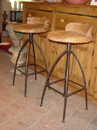 Carved Wood and Iron Bar Stools - CRT9604 - For Sale - Carved Wood And Iron - Metal Bar Stools For Sale Baileys Kitchen