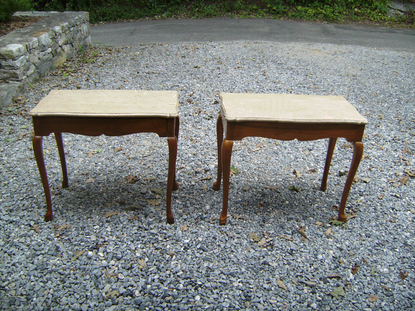 Pair Of Stylish Italian End Tables Circa 1920 1930. Pale Beige Matte Finish Marble  Tops On Light Brown Fruitwood Frames. Hand Made Wooden Pin Construction.