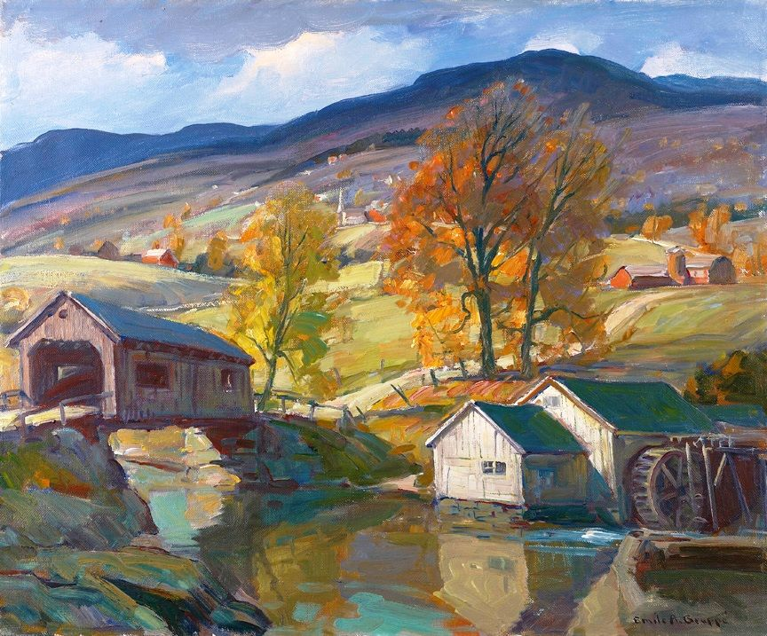 Superb 20th Century American Fall Vermont Landscape Artist