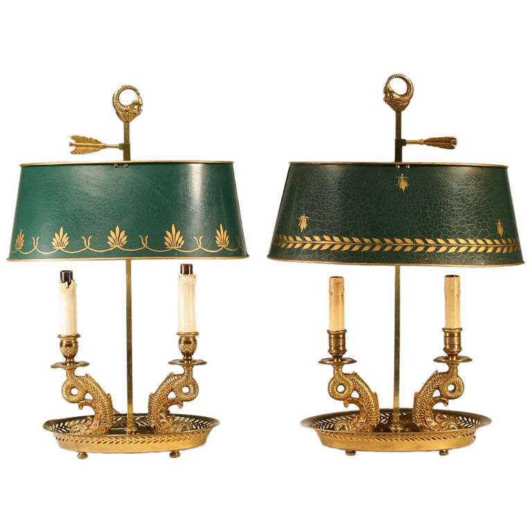 Pair of tole shade bouillotte lamps for sale antiques pair of tole shade bouillotte lamps for sale aloadofball Choice Image