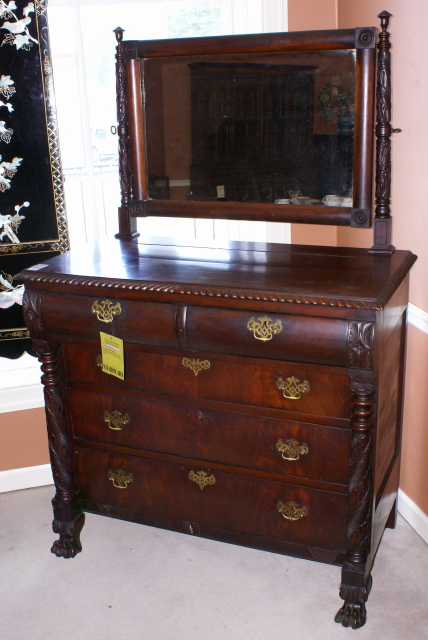 Gorgeous Mahogany Acanthus Carved Column Chest - Antiques.com Directories Resources