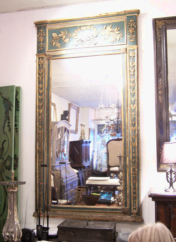 Large french green painted mirror with gilt c1790 item for Big mirrors for sale