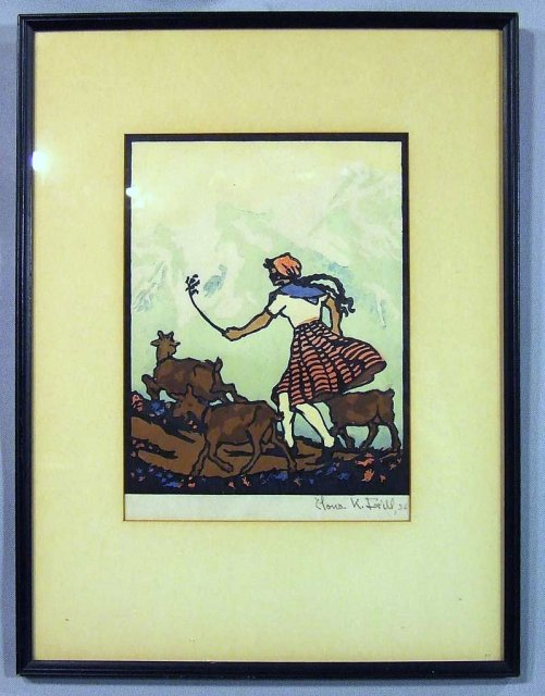 Arts and crafts woodblock print by frill for sale for Arts and crafts for sale