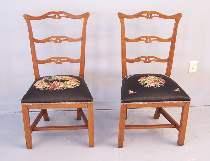 connecticut 18th c country chippendale dining side chairs